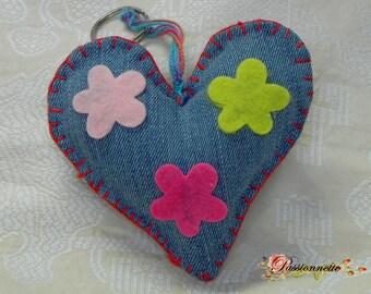 Key heart, handmade, denim