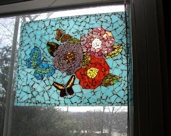 Butterflies & Flowers Mosaic Wall Art