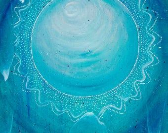 New Beginning: Original Acrylic Painting,Blue,Turquoise,Full Moon,Mandala,Birch Wood