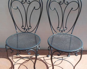 Vintage pair wrought iron chairs, Woodard?