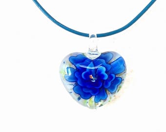 Indigo Glass Flower Necklace