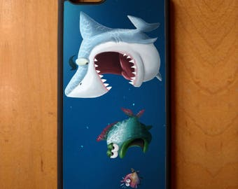 Shark Eating Fish Print Phone Case Cover Samsung Galaxy S6 S7 S8 Note Edge Apple iPhone 4 5 5S 5C 6 6S 7 SE Plus + LG G3 skin snap rubber