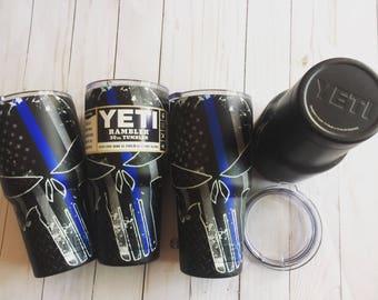 Thin Blue Line YETI 30oz Rambler - Hydrodipped