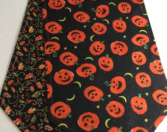 "Halloween Table Runner Smiling Pumpkins Reversible to Fall 10-1/2"" x 41"" Autumn Table Fall table topper"