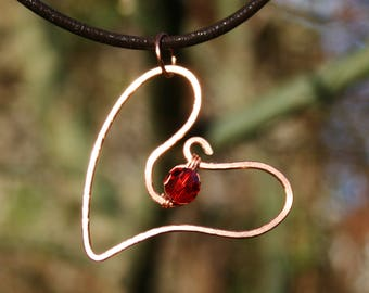 Heart necklace, heart pendant, hammered copper wire heart necklace, red crystal bead, mother's day, love token, copper heart pendant,