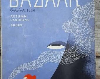 October 1936 Harper's Bazaar Vintage Magazine