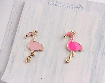 10pcs Flamingo 17*28mm Enamel Charms Animal Bird CharmDIY Bracelet Hair Necklace Jewelry Accessory DIY Craft 2 Colorr