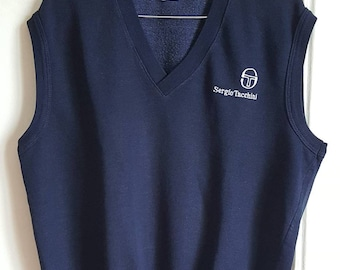 Sweat sans manche Sergio Tacchini Vintage Années 90 Made in Italy Taille M Comme Neuf.