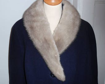 60s dark blue vintage coat with grey mink