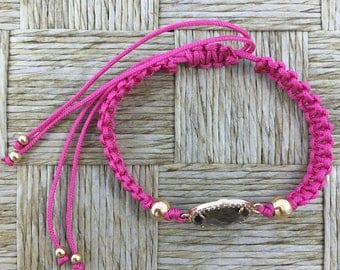 Handmade knitted Bracelet with Crystal Pendant