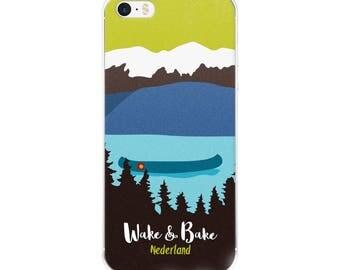 Wake and Bake Nederland Cannabis Mountain Scene Canoe Lake Marijuana Colorado Phone Case