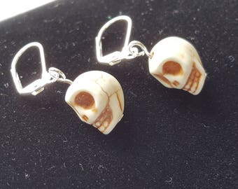 Cream Acrylic 3 D Skulls with Silver Leverback Earrings