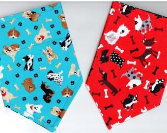 Tossed Dogs Bandana | Dog Bandana | Puppy Bandana | Over the Collar Dog Bandanas | Custom Dog Bandana