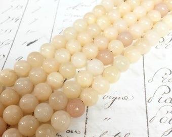 AA quality, Calcite, Light Yellow Beads, Round, 8mm, Full strand,