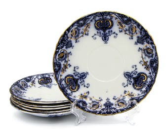 Wedgwood Navarre Saucers, Royal Semi Porcelain Plates, Small Dish Set, Antique 1900s Plates, Prussian Blue and Gold Saucers, Made in England