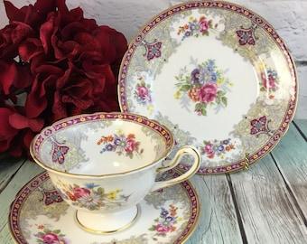 Shelley Georgian 13361 Tea Trio Set or Piece Elegant Dark Pink Red Floral Gold Teacups Saucers Cake Plates Great Vintage Condition England
