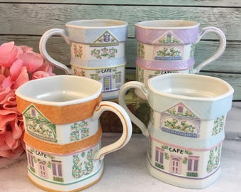 Lenox Village House Coffee Tea Mug Fine Bone China Vintage USA Made Lovely