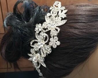 wedding hair piece, bride hairpiece, rhinestones side hair comb, flower