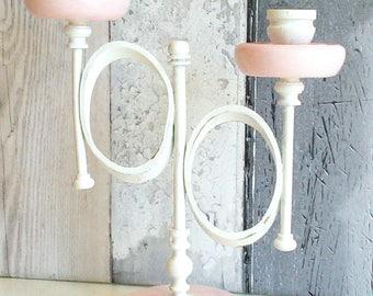White candelabra, shabby candelabra, painted candelabra, unique candelabra, romantic candelabra, pink candelabra, vintage candelabra