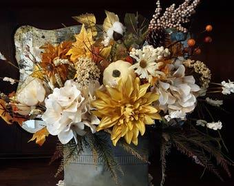 Fall floral arrangement, fall table centerpiece, farmhouse fall centerpiece, fall table arrangement, fall floral centerpiece tan centerpiece