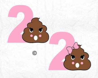 2nd Birthday svg, Birthday svg, Happy 2nd Birthday svg, Poop svg, Second birthday svg, Cricut, Cameo, Birthday shirt, Svg, DXF, Png, Pdf Eps