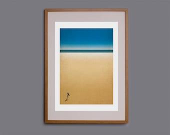 Surf art, minimalist art, waves, wall art, surf decor, surf illustration, Cornwall, surfer, giclee print, beach print, ocean art, beach art