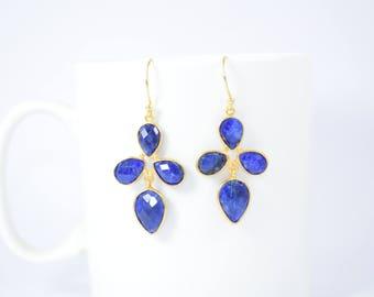 Sapphire earring,Blue color earring,Sapphire dangle earring,Pear shape earring ,gold plating earring,sapphire jewelry, September birthstone