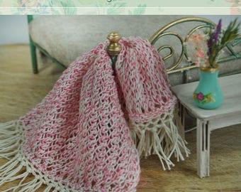 Miniature Afghan, miniature throw, Miniature blanket, Hand knitted, scale 1/12