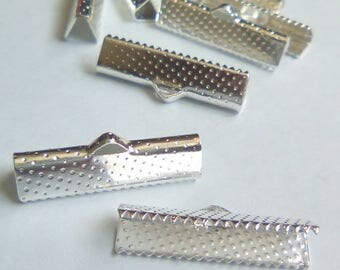 4 silver 25x16mm Ribbon ties