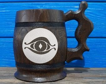 Saurons Eye Wooden Beer Mug, Lord Of The Rings Beer Gift, Hobbit Mug, Frodo Bilbo Baggins, My Precious, LOTR Gift, LR04L