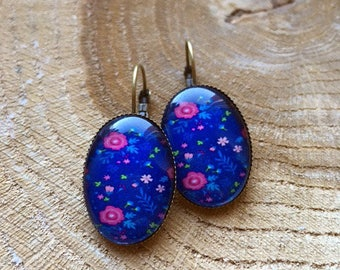 """Flowers on blue"" earrings"