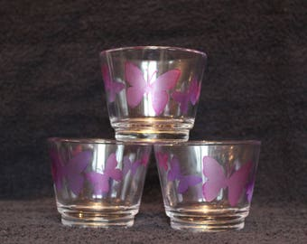 Three butterfly tea light holders with butterfly's etched/painted onto them - Glass tea light holder- Unique Gift