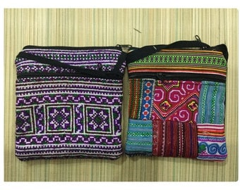 Handmade Hmong embroidered cotton nylon passport bag