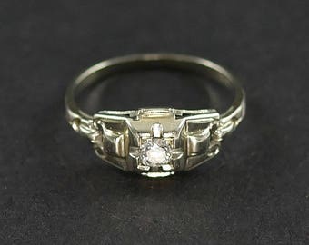 Vintage Diamond Ring - 18K White Gold 1/10th ct Solitaire Engagement Ring
