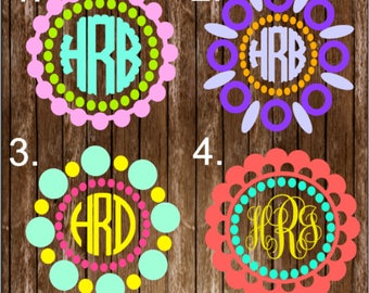 Circle Framed Monogram Decal / Monogram Decal / Car Sticker / Car Monogram / Framed Monogram Sticker / Dotted Monogram Decal