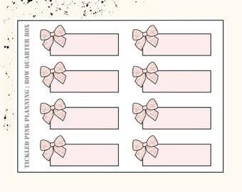 BOW QUARTER BOXES | Planner Stickers | Premium Matte Paper