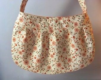 Pleated Fabric Purse, Large - buttercup bag, cotton, handbag, floral, yellow, orange, red, green, large