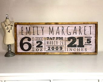 Wooden Nursey Birth Announcement