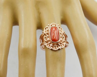 beauty Rose Gold Coral Gemstone  925 Silver Ring gemstone gift