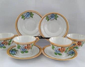 Japan Lusterware Eggshell Porcelain, Set of Four (4) Demitasses and Saucers