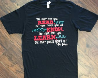 Adult Black Dr. Seuss Read, Know, Learn Tee