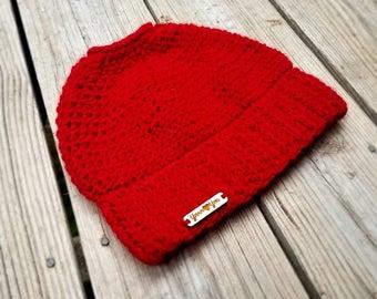 Red Messy Bun Beanie; Red Messy Bun Hat; Louisville messy bun beanie