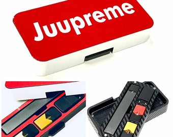"JUUL travel case ""Juupreme"" red and white design by Jwraps design"