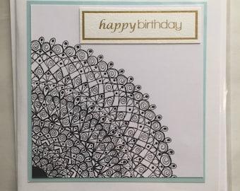 "5 x 5"" square mandala birthday cards"