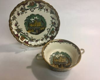 Vintage 1930's LEEDS Soup Cup and Saucer by MASON'S   Mason's Soup Cup and Saucer   Mason's Ironstone   Vintage Soup Cup   Vintage China