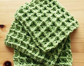 Crochet Dishcloths/washcloths, Crochet Cloths, Dishcloths, Washcloths, Housewarming Gift, Crochet Waffle Cloths,