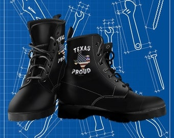 Texas Proud Lone Star Flag Vegan-Friendly Synthetic Leather Lace-Up Boots For Men