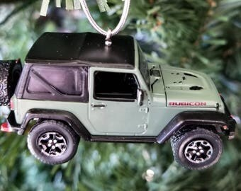 Christmas ornament,  2015 Jeep Wrangler Rubicon , Greenlight ornament, rear view mirror, Jeep ornament, Die cast ornament, jeep decor,4x4