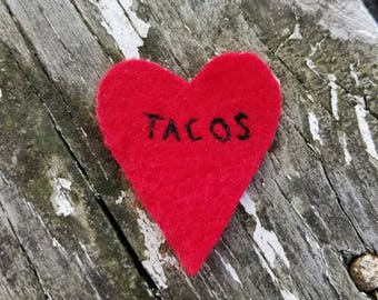 Hand Embroidered Iron On Felt Patch Tacos Heart