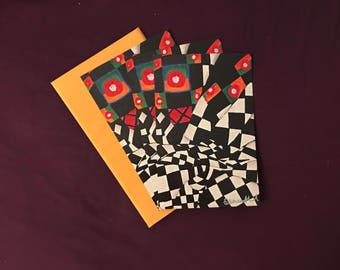 3 x Abstract card with envelopes